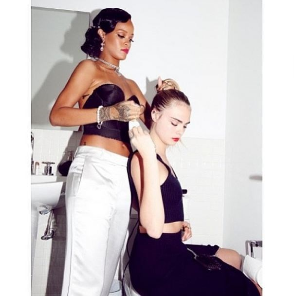 "Her BFFs. <br> RiRi, Suki, Sienna, Rita, Georgia May, Selena, Jourdan... now THAT is a clique. <br><br> <em>Related links: <a href=""http://www.elle.com.au/news/zeitgeist/2014/7/caras-clique-a-bff-cheat-sheet/"">Cara's closest: A cheat sheet</a>.</em>"