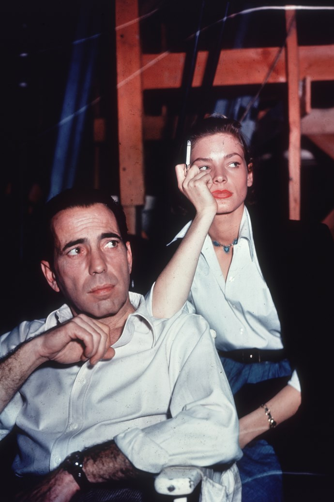 """""""I used to tremble from nerves so badly that the only way I could hold my head steady was to lower my chin practically to my chest and look up at Bogie. That was the beginning of The Look."""""""