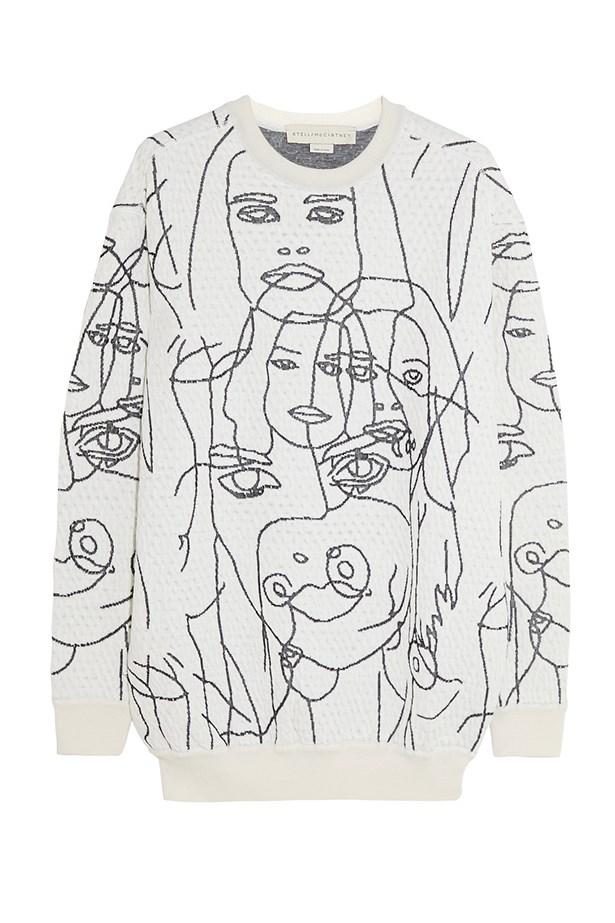 "Gary Hume sweater, $752, Stella McCartney, <a href=""http://www.net-a-porter.com/product/457705/Stella_McCartney/gary-hume-intarsia-cotton-blend-sweatshirt"">net-a-porter.com</a>"