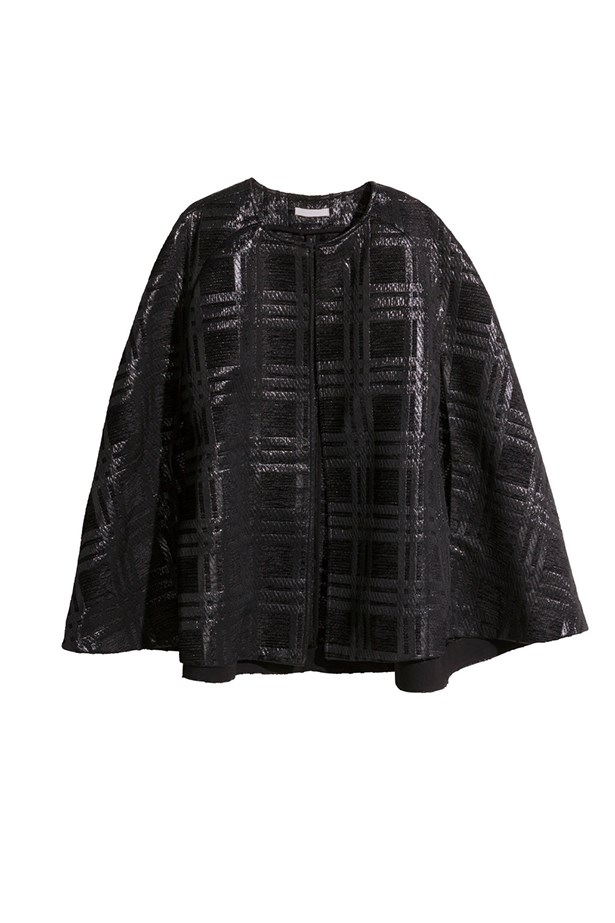 "Textured cape, $99.95, H&M, <a href=""http://www.hm.com/au/product/47867?article=47867-A"">hm.com/au</a>"