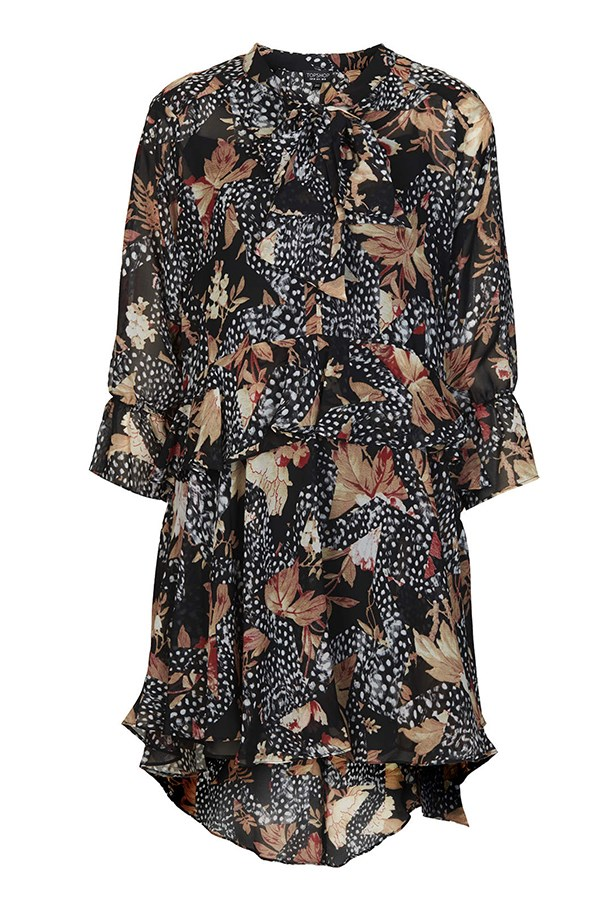 "Silk dress, $98, Topshop, <a href=""http://www.topshop.com/en/tsuk/product/clothing-427/dresses-442/toile-feather-print-shirt-dress-3179475?bi=41&ps=20"">topshop.com/au</a>"