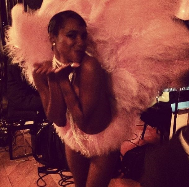 As one would expect from the music icon, there were lots of feathers, headdresses and theatrics at the Cannes party.