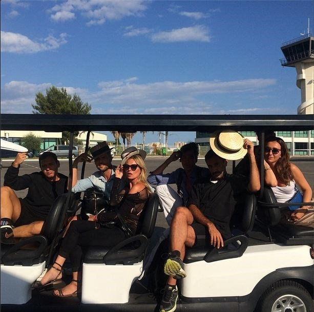 Pre-party, the A-list guests arrive via golf buggy