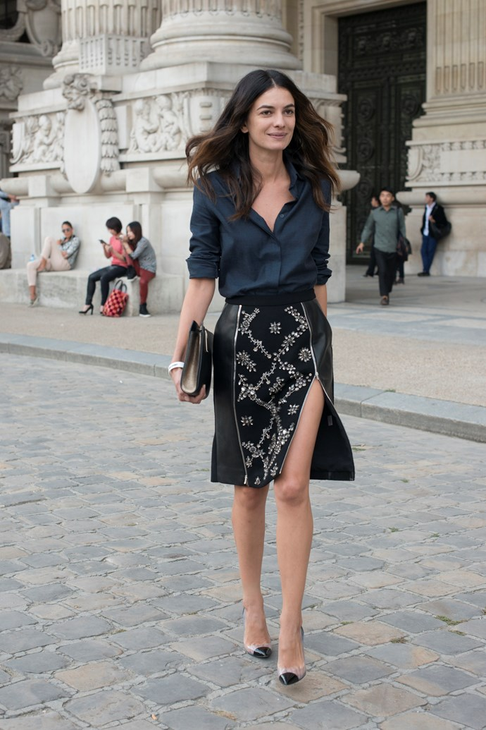 Stylebop fashion director Leila Yavari loves mixing masculine and feminine pieces, such as a man-style shirt with a delicately embroidered pencil skirt.
