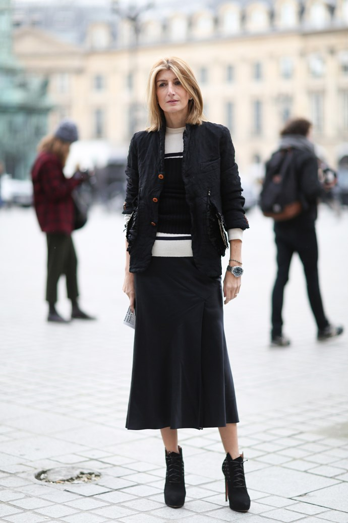 As the vice president of buying for Net-A-Porter, Sarah Rutson has luxury designer labels at her fingertips. Her sophisticated take on power dressing makes her the queen of street style dressing.