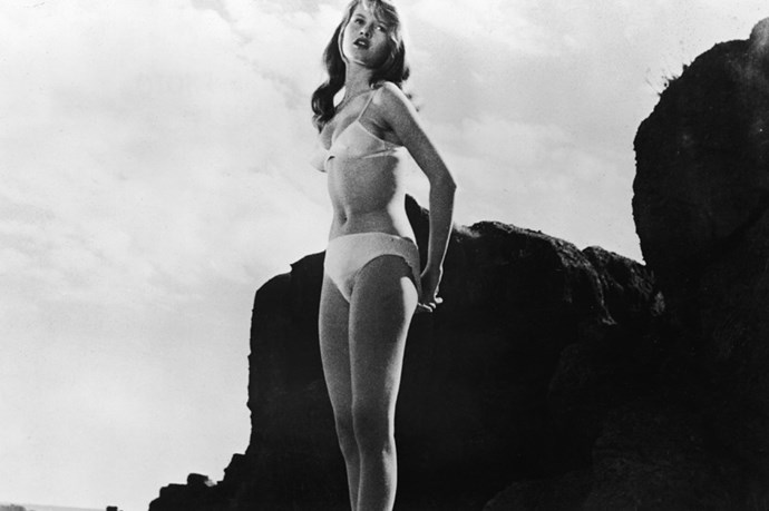 Brigitte Bardot in a white bikini in one of her earliest films, <em>The Girl In The Bikini'</em> (1952)
