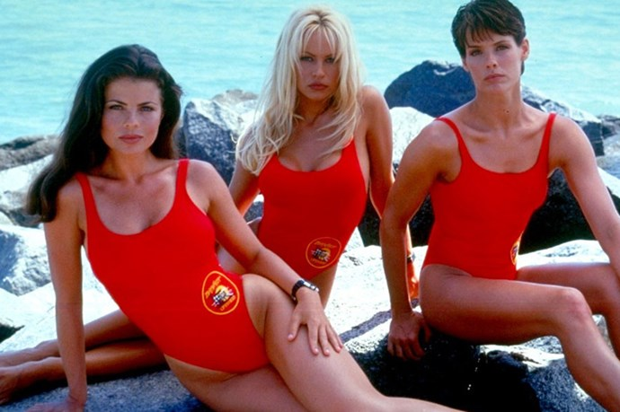 The Baywatch babes: Yasmine Bleeth, Pamela Anderson and Alexandra Paul, circa 1993