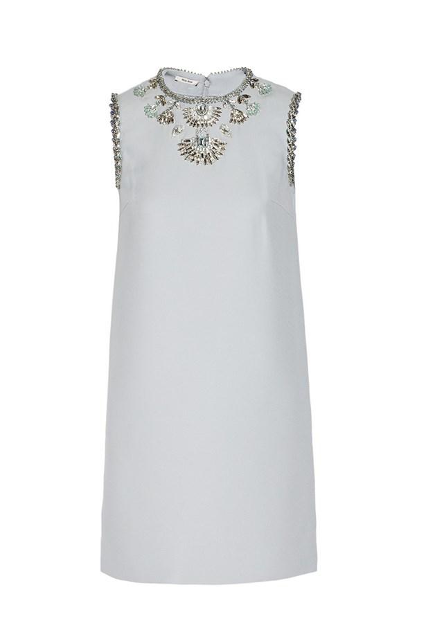 "Shift dress, $5393, Miu Miu,<br><a href=""http://www.net-a-porter.com/product/466907/Miu_Miu/embellished-cady-mini-dress"">net-a-porter.com</a>"