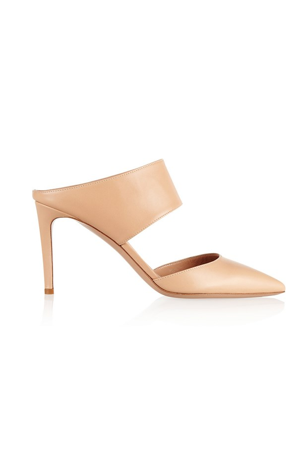 "Leather mules, $627, Gianvito Rossi,<br> <a href=""http://www.net-a-porter.com/product/430582/Gianvito_Rossi/leather-mules"">net-a-porter.com</a>"