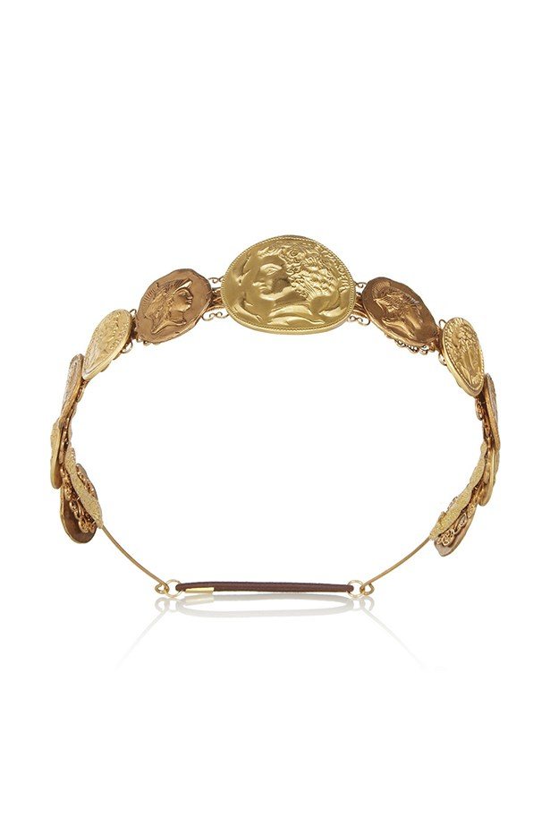 "Coin headband, $1761, Dolce & Gabbana,<br> <a href=""http://www.net-a-porter.com/product/431982/Dolce_and_Gabbana/gold-tone-coin-headband"">net-a-porter.com</a>"
