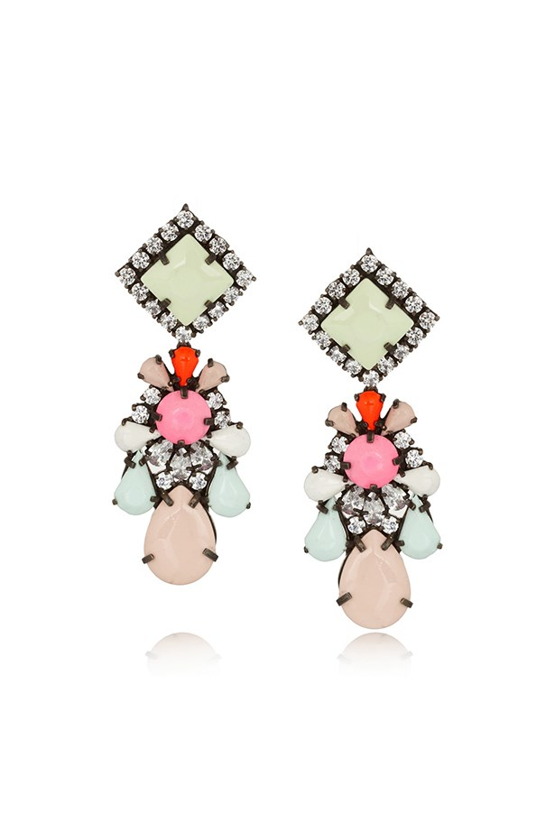 "Earrings, $289, Shourouk, <a href=""http://www.theoutnet.com/en-AU/product/Shourouk/Gunmetal-tone-painted-crystal-earrings/520097"">theoutnet.com</a>"