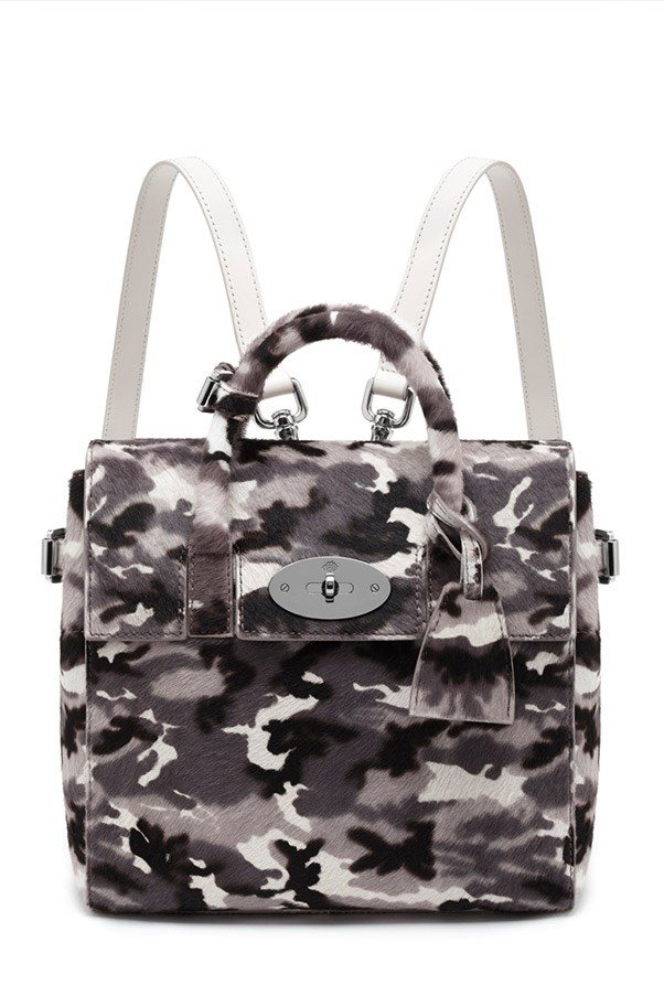 Mulberry Mini Cara Delevingne Bag in Black-White Camouflage Haircalf $3,800, 03 9600 4888