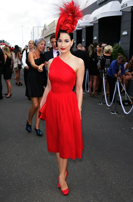 Dita Von Teese in all red at Victoria Derby Day