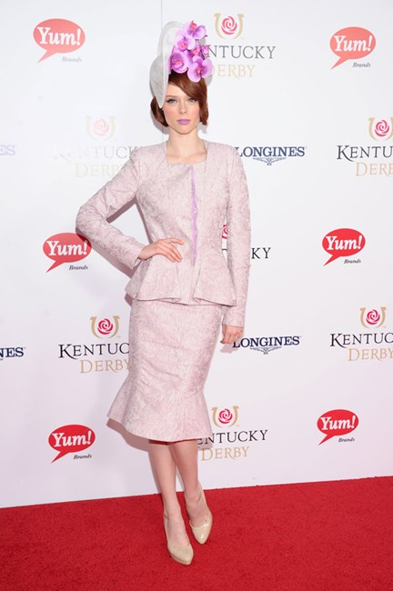 Coco Rocha is pretty in pastels at the Kentucky Derby