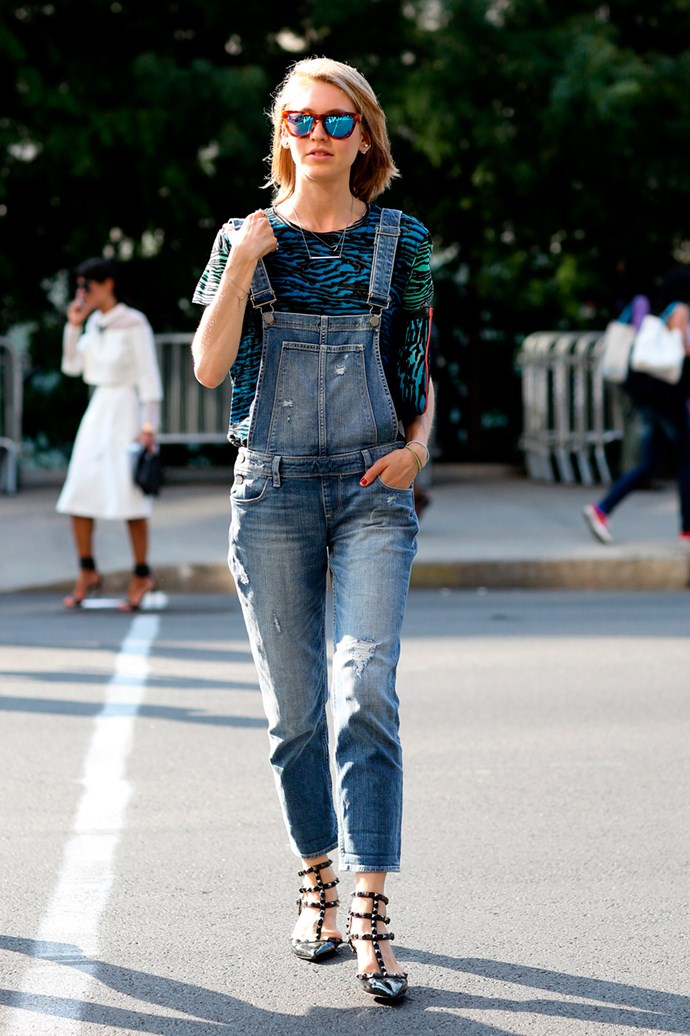 Denim dungarees, Valentino studs and reflector sunglasses are on high rotation for another season at New York Fashion Week.