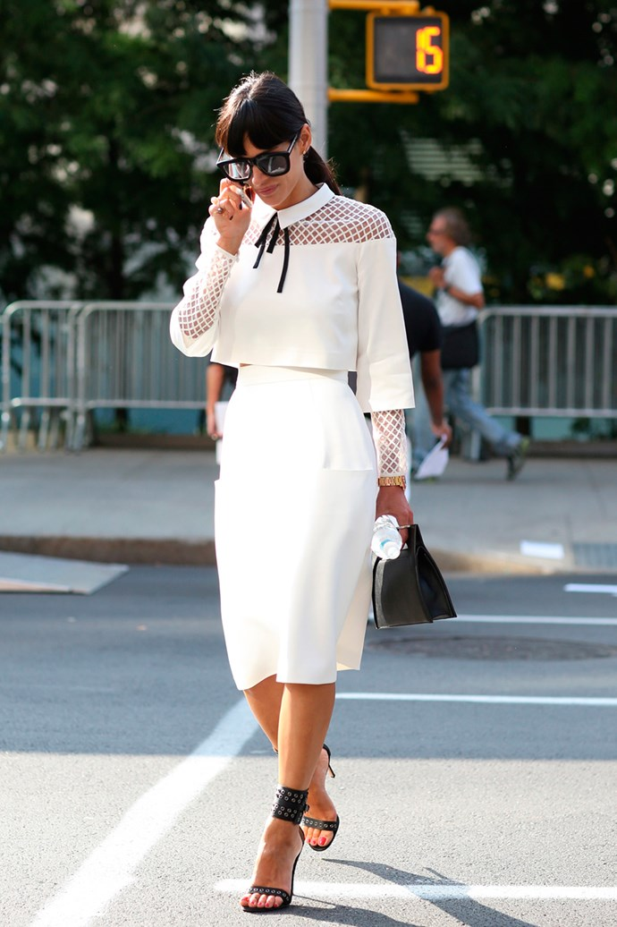 A classic cream top and skirt combo with a cowgirl chic collar at New York Fashion Week.