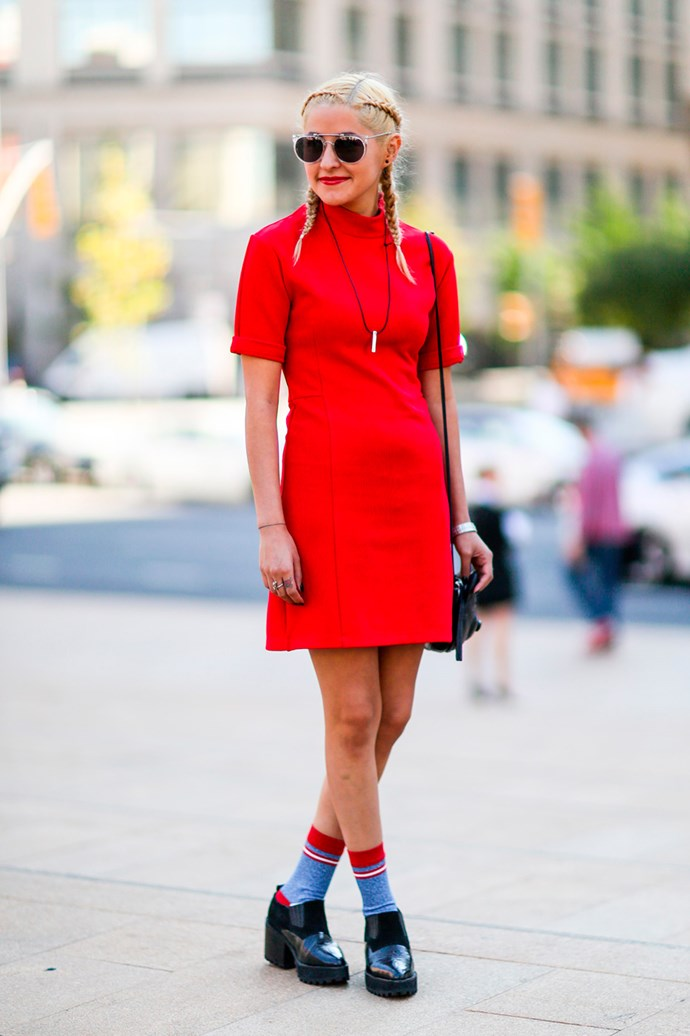 Inside out braids, a red-hot dress and sock and shoes at New York Fashion Week.