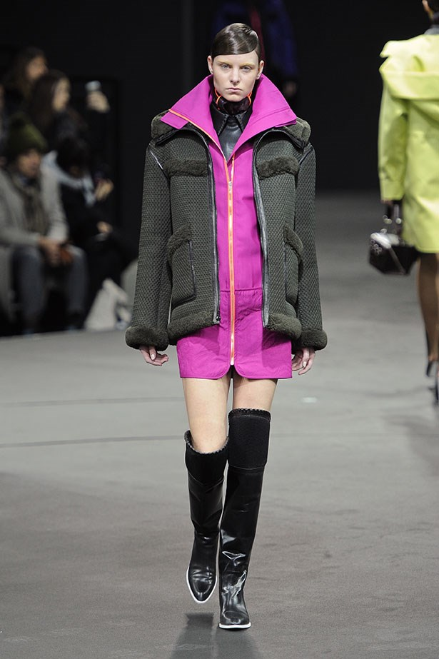 <strong>The zip-front layering piece</strong><br><BR> We're loving the turbo-charged shade of pink seen on Alexander Wang's runway. Choose a sporty vest-cum-dress and layer like you mean it.