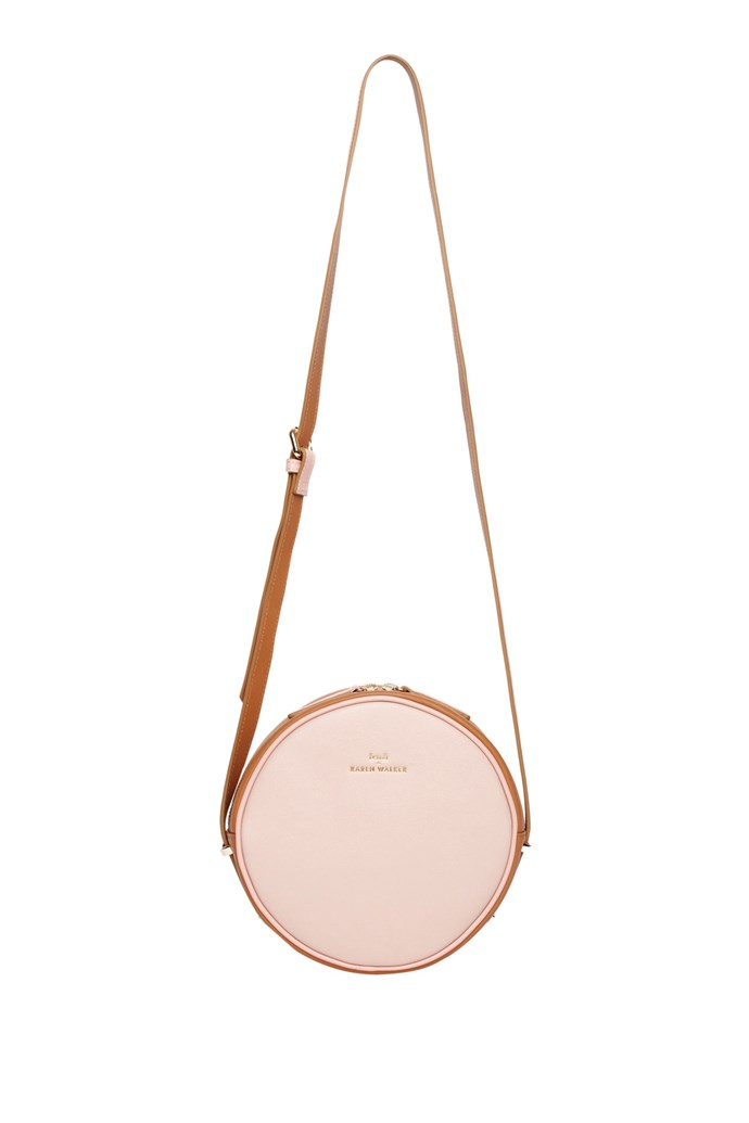 "Bag, $320, Benah For Karen Walker, <a href=""http://http://www.myer.com.au/shop/mystore/benah-for-karen-walker-benah-for-karen-walker-bkw-14-marion-mini-round-crossbody-bubble-tan"">myer.com.au</a>"