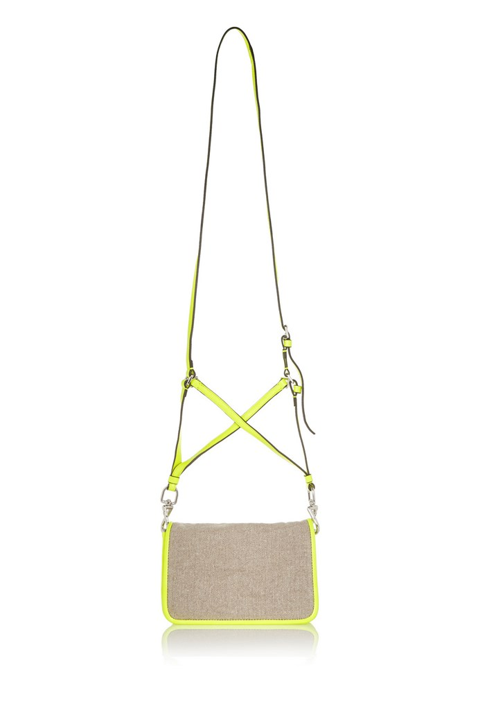 """Bag, $154, Theyskens' Theory, <a href=""""http://http://www.theoutnet.com/en-AU/product/Theyskens-Theory/Canvas-and-neon-leather-shoulder-bag/483878"""">theoutnet.com</a>"""