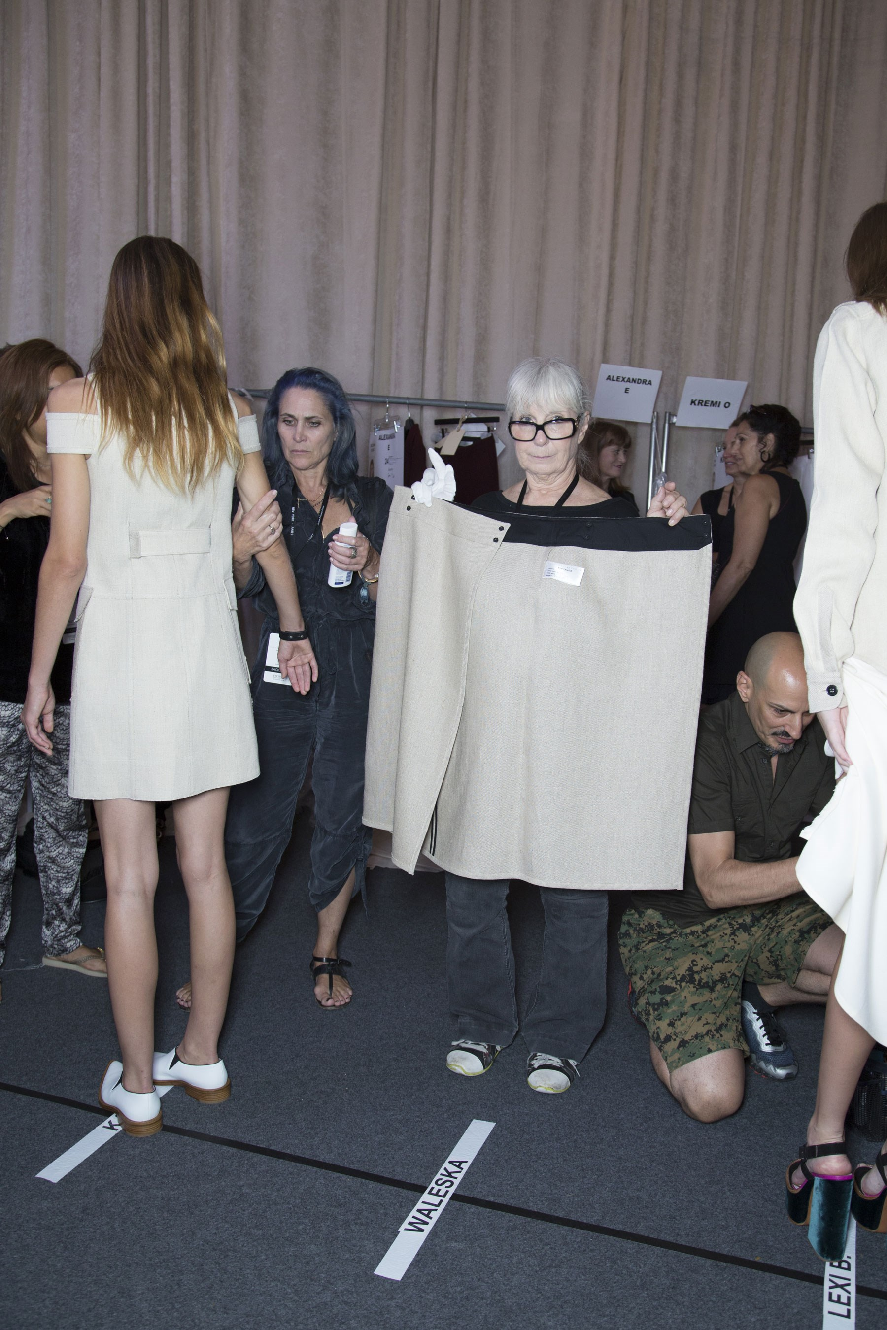 Backstage dressing area at Victoria Beckham's show.