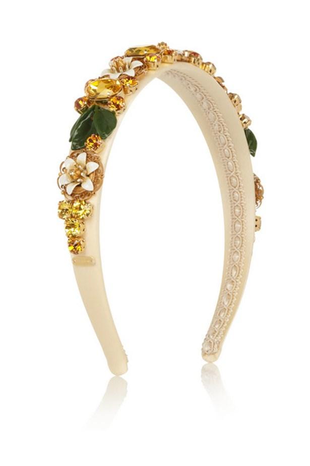 "Headband, $1,538, Dolce & Gabbana, <a href=""http://www.net-a-porter.com/product/441335/Dolce_and_Gabbana/swarovski-crystal-embellished-silk-headband "">www.net-a-porter.com</a>"