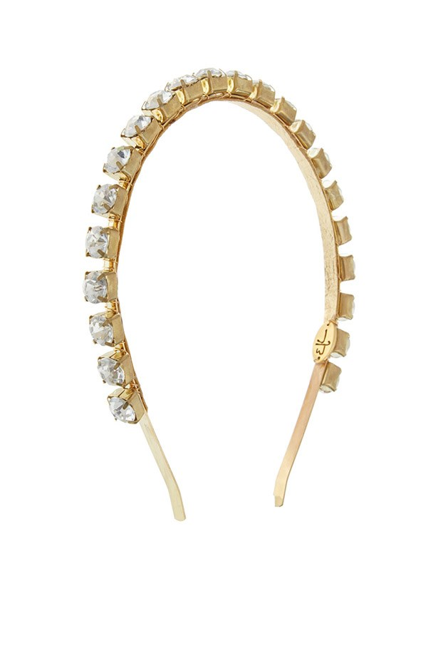 "Headband, $182, Eugenia Kim, <a href=""http://www.liberty.co.uk/fcp/product/Liberty//Gold-Tone-Audra-Rhinestone-Headband/99060"">www.liberty.co.uk</a>"