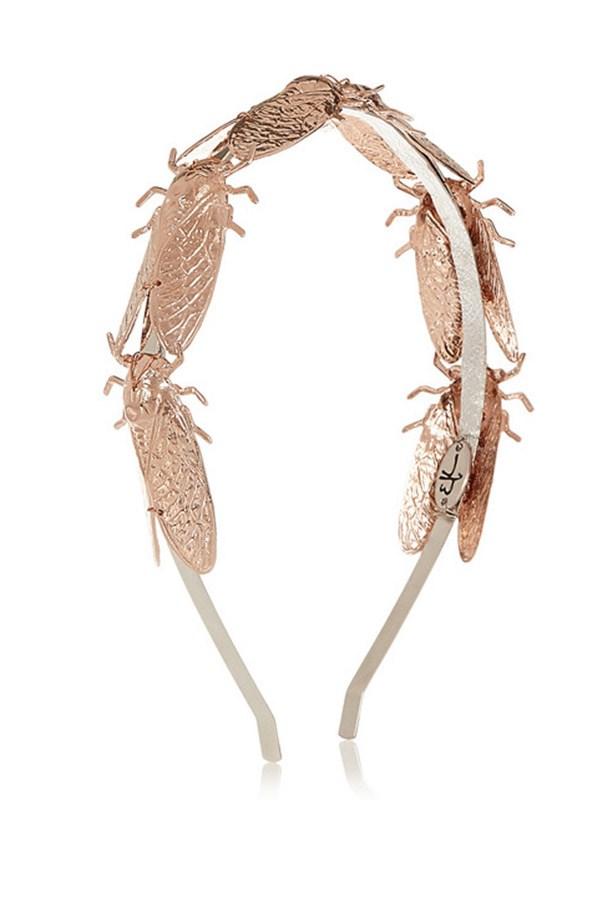 """Headband, $298, Eugenia Kim, <a href=""""http://www.net-a-porter.com/product/462982/Eugenia_Kim/milou-rose-gold-plated-headband"""">www.net-a-porter.com</a>"""