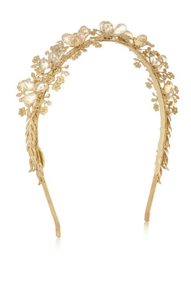 "Headband, $350, Eugenia Kim, <a href=""http://www.net-a-porter.com/product/451565/Eugenia_Kim/sarah-crystal-embellished-gold-tone-headband"">www.net-a-porter.com</a>"