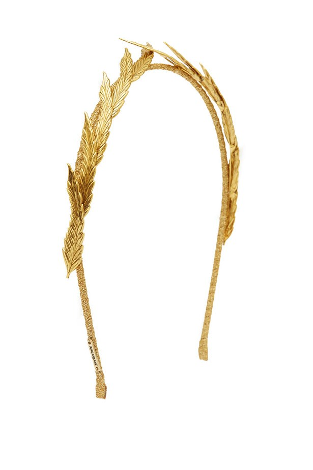 "Headband, $356, Jennifer Behr, <a href=""http://www.liberty.co.uk/fcp/product/Liberty//Gold-Tone-Eris-Headband/110400"">www.liberty.co.uk</a>"