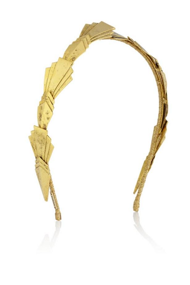 "Headband, $476, Jennifer Behr, <a href=""http://www.net-a-porter.com/product/457386/Jennifer_Behr/dakota-gold-plated-headband"">www.net-a-porter.com</a>"