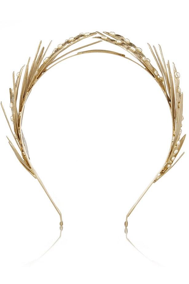 "Headband, $566, Rosantica,<a href=""http://www.net-a-porter.com/product/477400/Rosantica/apache-gold-dipped-pearl-headband""> www.net-a-porter.com</a>"