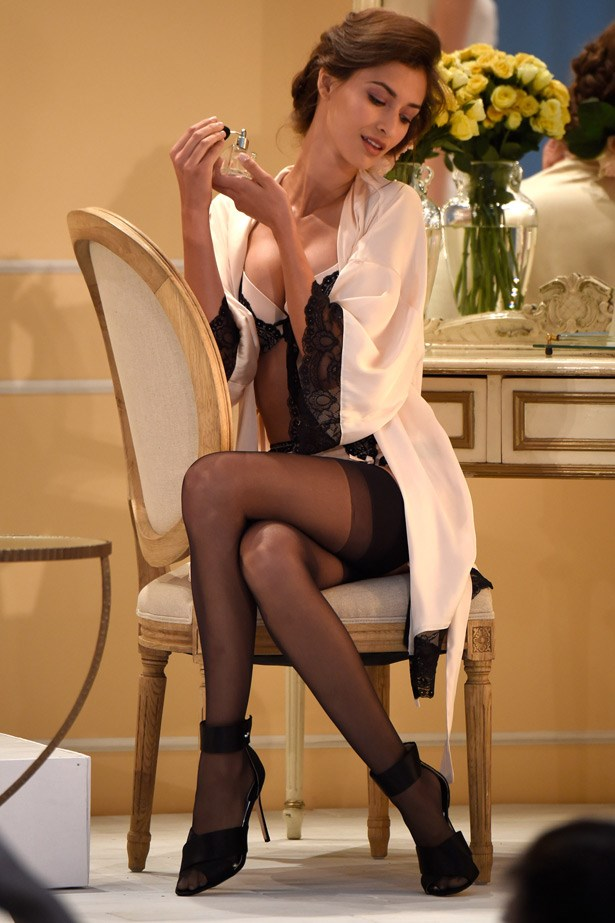 In classic Spears' style, the catwalk show was a theatrical event, with models posing amongst a French boudoir-like set