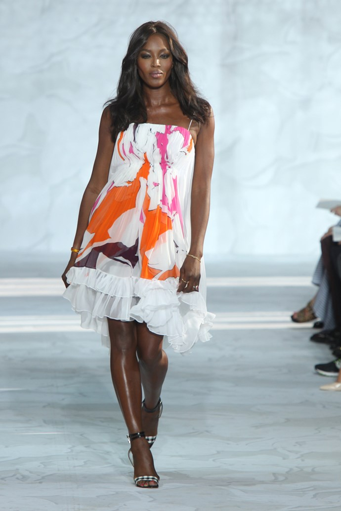 Iconic supermodel Naomi Campbell in Diane von Furstenberg's NYFW runway show
