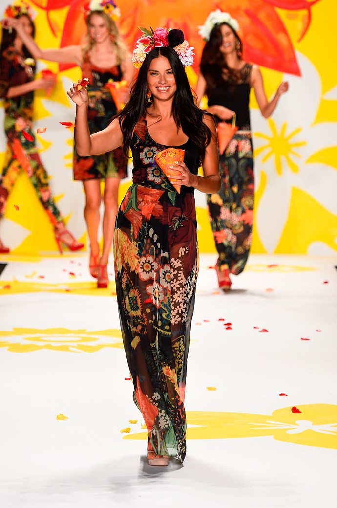 Adriana Lima closes Desigual's fashion show at New York Fashion Week