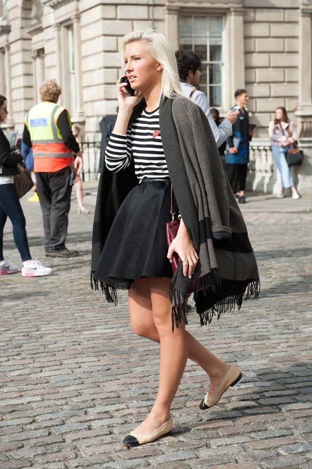 For an effortless Parisian spin on things, add Chanel flats or a striped Comme des Garçons tee to any outfit.