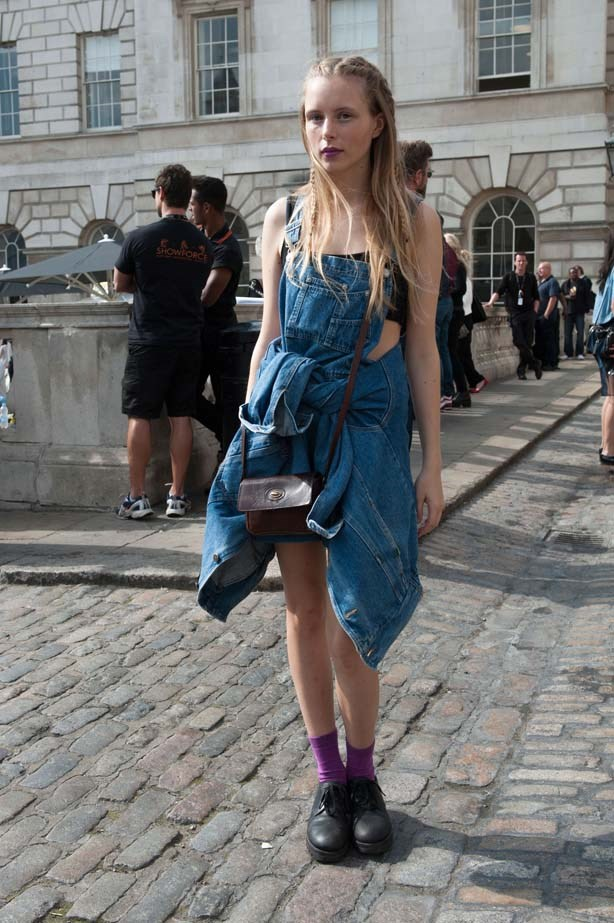 This fashion week attendee deserves a street style medal for perfectly matching her lipstick with her socks.