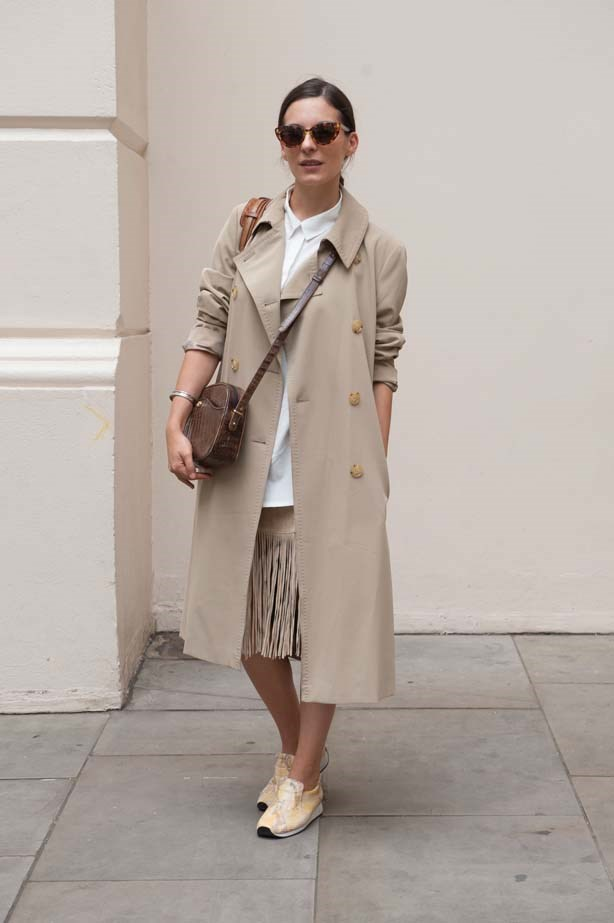 Nothing looks cooler with trainers than a camel trench coat.