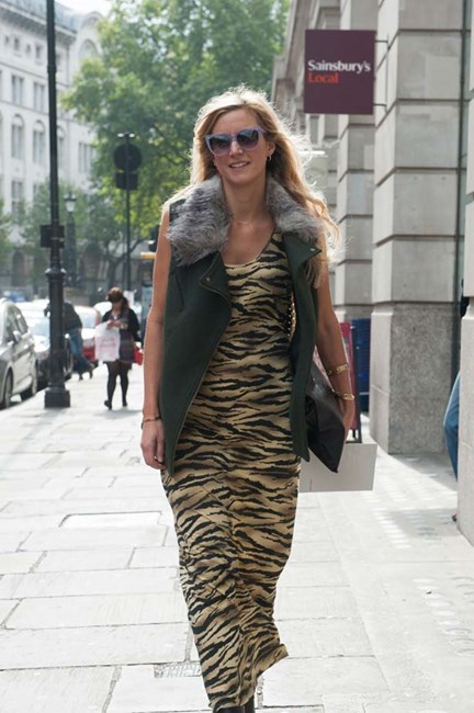 A fur collar and tiger print dress