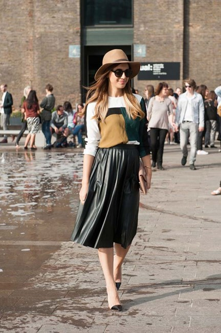 Mid-length leather skirts