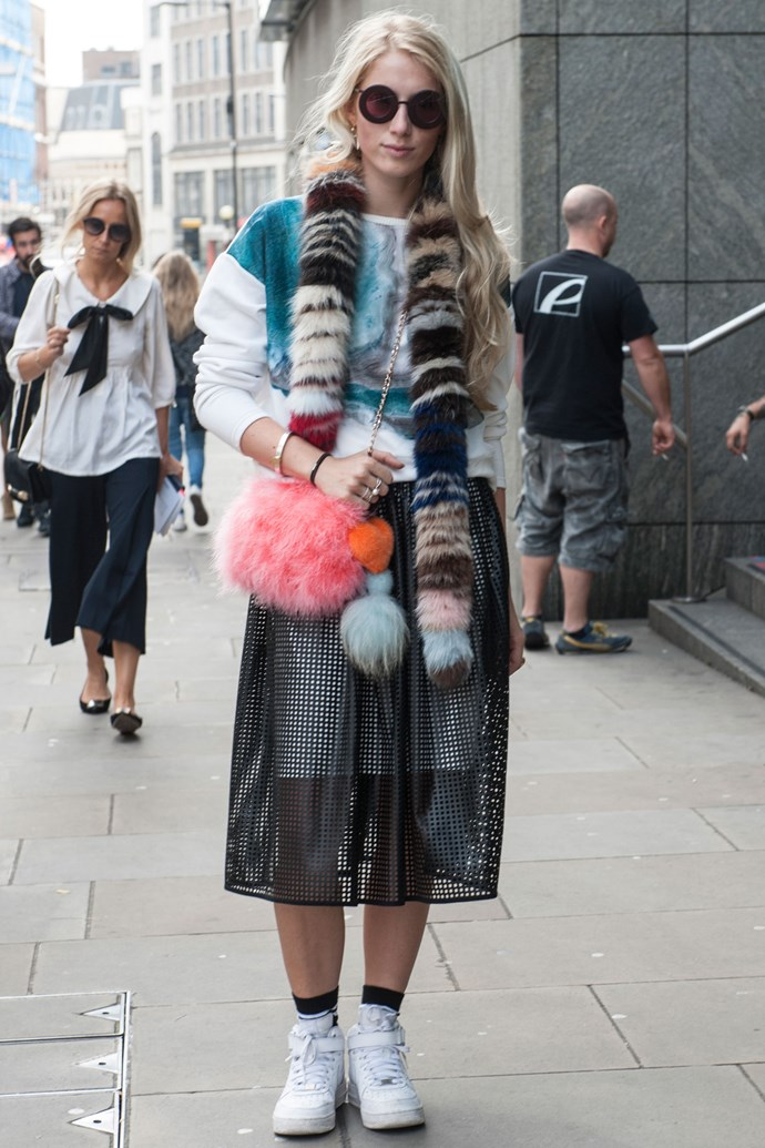 <strong>6. The fuzz</strong><br> Up the interest with furry accessories such as stoles and bags.