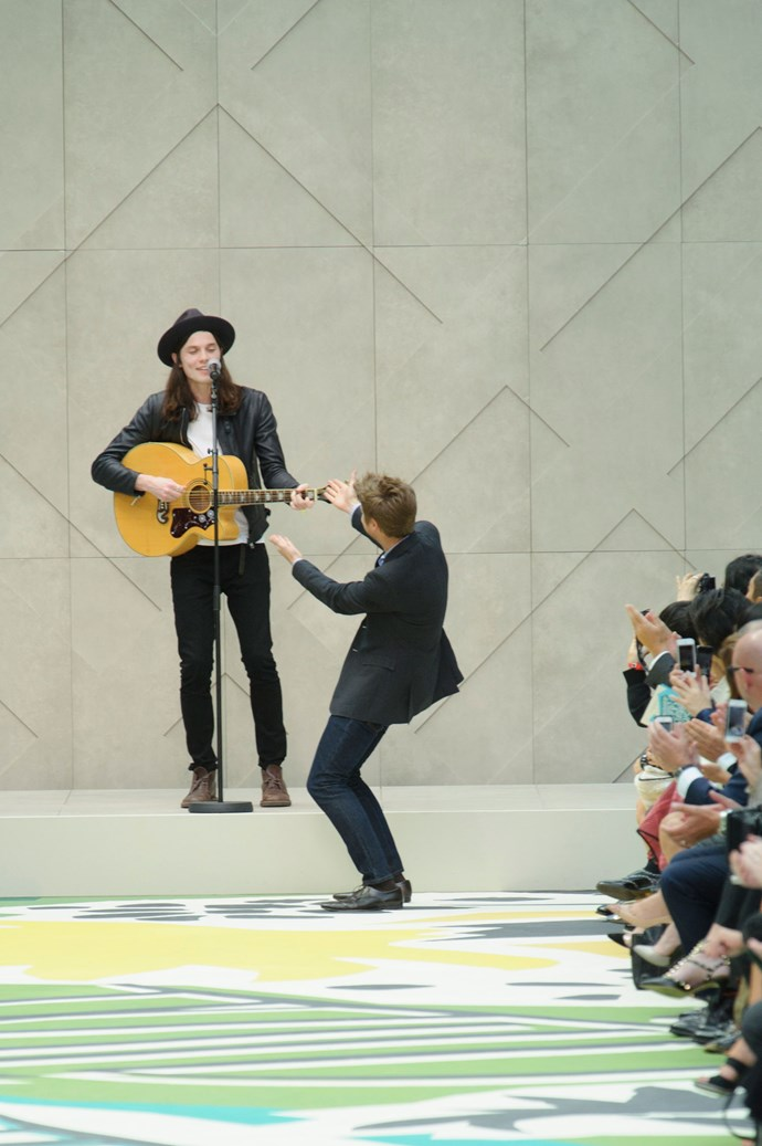 <strong>The music </strong><br> Burberry featured another musician at the end of the runway. First there was Tom Odell, then Paloma Faith, and this year 22-year-old James Bay served up the beat of the show.