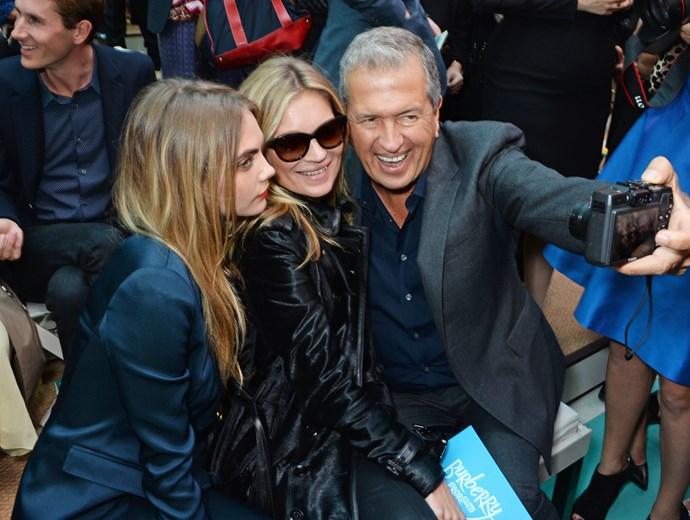 Cara Delevingne, Kate Moss and Mario Testino