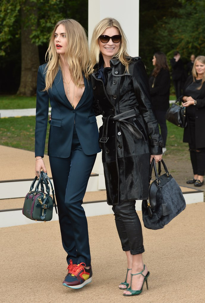 <strong>The supers </strong><br> Brit supers Kate Moss and Cara Delevingne, who both appeared in the fashion house's latest fragrance campaign, My Burberry, arrived at the show together, sending photographers into a frenzy.