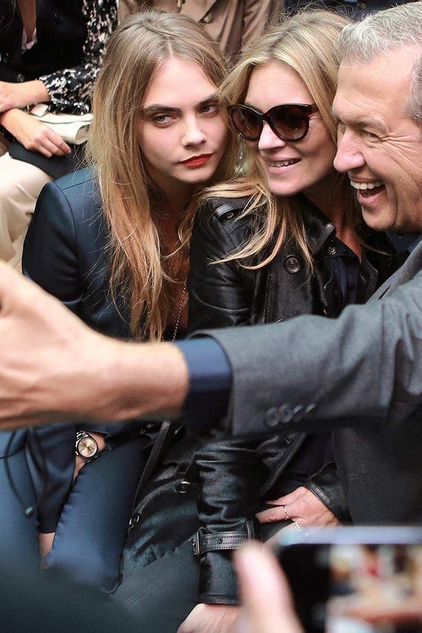 <strong>The front-row selfies </strong><br> Mario Testino, Kate Moss and Cara Delevingne couldn't resist a selfie.