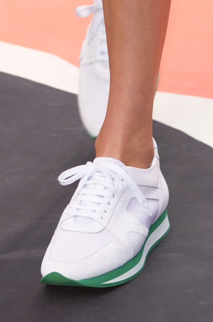 <strong>The cool kicks </strong><br> Burberry followed suit and added a sneaker to its spring/summer collection, dubbing it the Burberry Field Sneaker. We loved the bright white version featuring vivid coloured soles – although we're not sure if we'll take them to work or straight to the tennis court (or both).