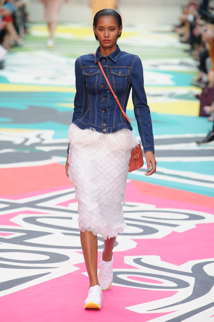 <strong>The denim jacket</strong><br> Christopher Bailey gave the classic denim jacket a contemporary new look with hourglass and cropped shapes and feather and fur finishes.