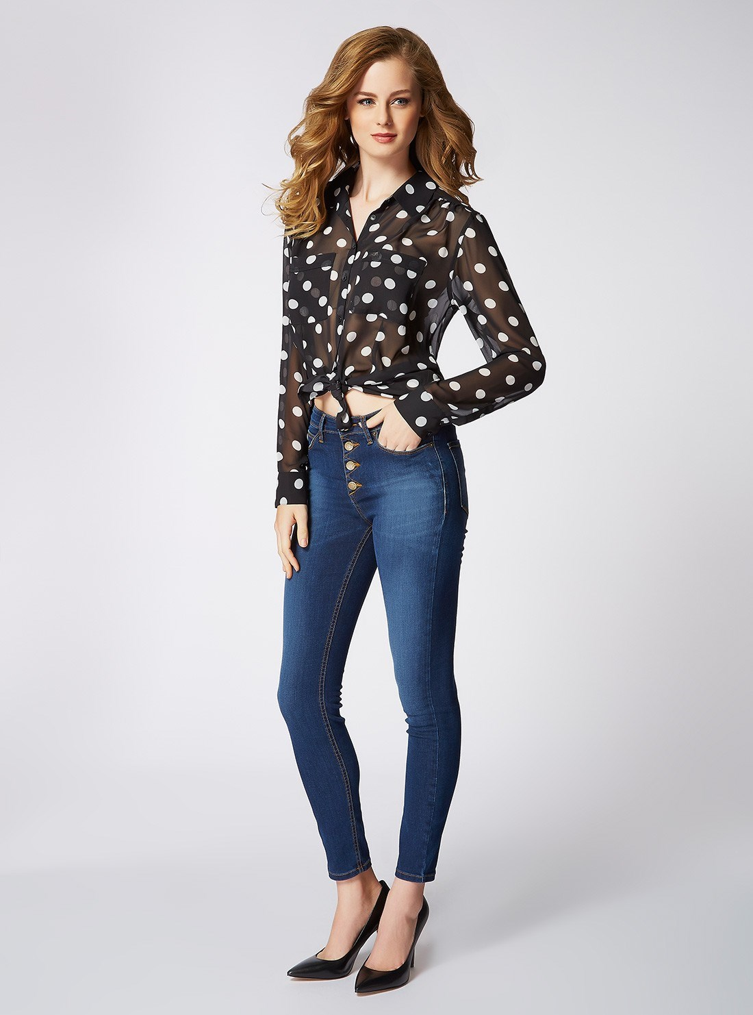 """<p/>The @GUESS look is all about finding the right balance of effortless & sexy, pair feminine shirst with curve hugging hi rise denim. <p/> Polka Dot Charlotte Shirt 1981 Hi Rise Denim in High Ace Wash <p/> Shop the look <a href=""""http://www.shop.guess.net.au/fashion-trends/originals"""">here</a>."""