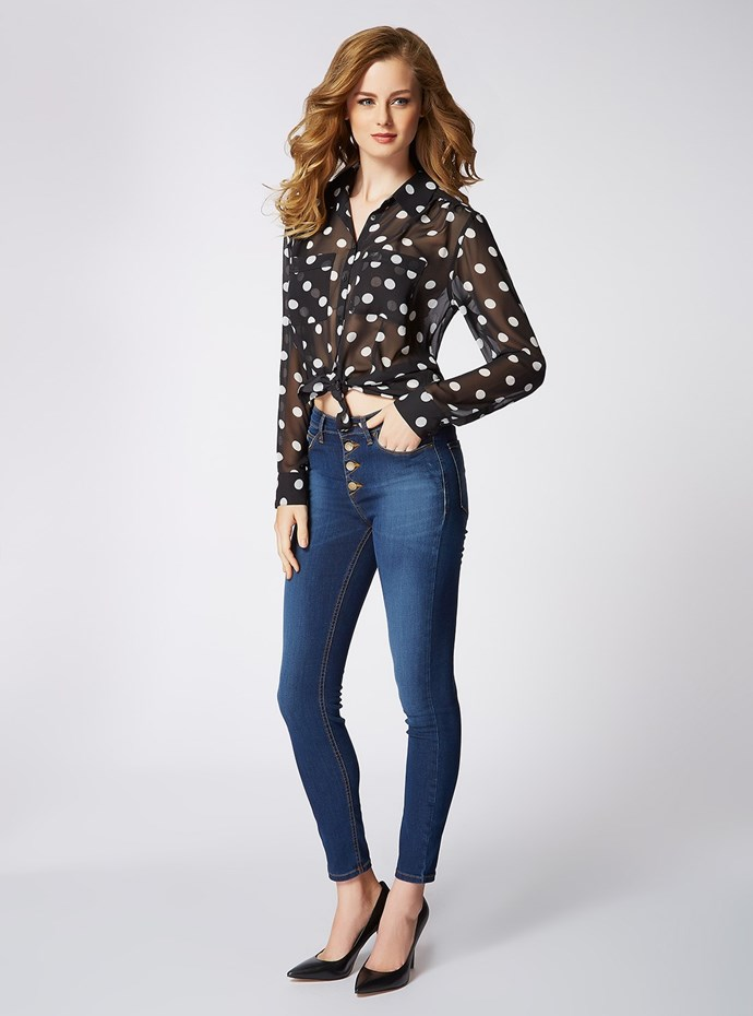 "<p/>The @GUESS look is all about finding the right balance of effortless & sexy, pair feminine shirst with curve hugging hi rise denim. <p/> Polka Dot Charlotte Shirt 1981 Hi Rise Denim in High Ace Wash <p/> Shop the look <a href=""http://www.shop.guess.net.au/fashion-trends/originals"">here</a>."