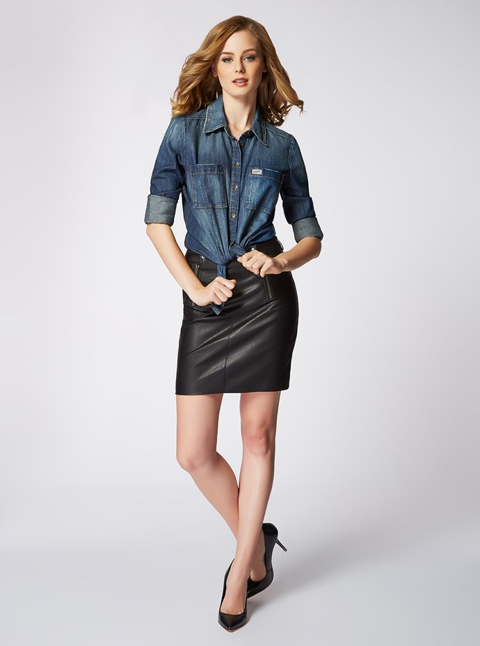 "<p/>Wear everywhere denim & leather are your new BFF. <p/> Charlotte Denim Shirt in Safford Wash 1981 Leatherette Skirt <p/> Shop the look <a href=""http://shop.guess.net.au/fashion-trends/originals"">here</a>."